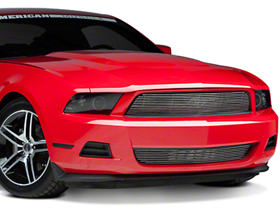 Modern Billet Polished Pony Delete Billet Grille - Upper (10-12 V6)