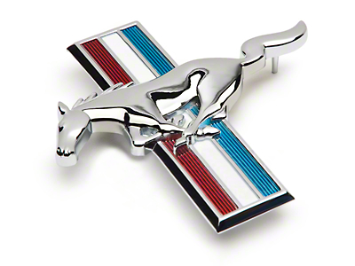 Running Pony Tri-Bar Grille Emblem