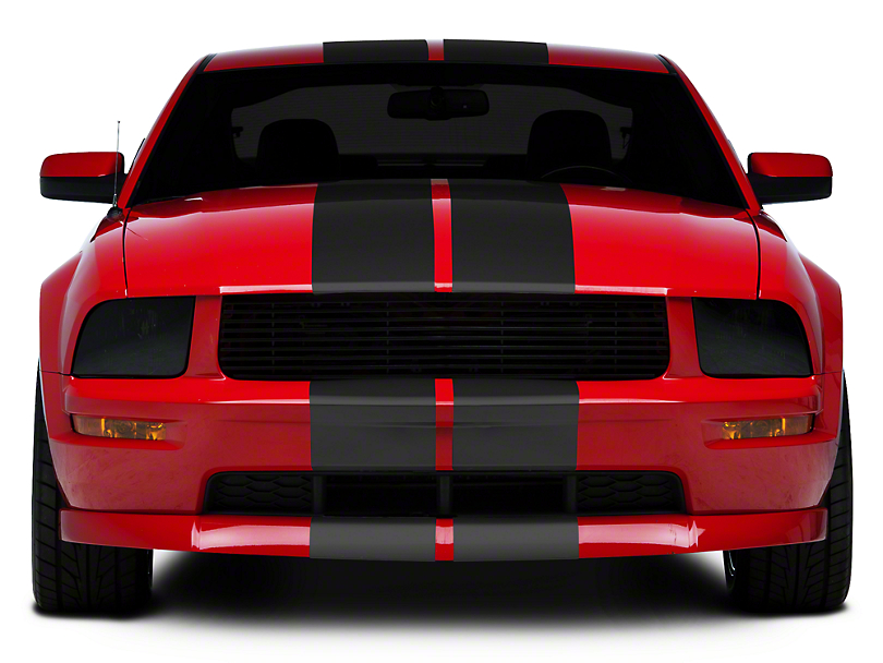 Matte Black GT500 Style Stripes - 10 in. (05-14 All)