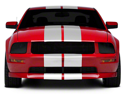 White GT500 Style Stripes - 10in (05-14 All)