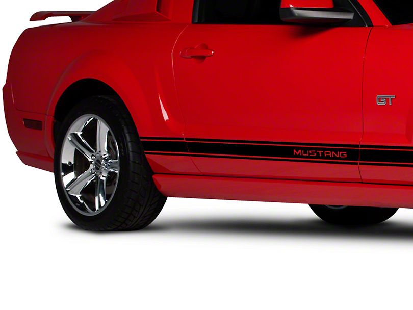 Black Rocker Stripes w/ Mustang Lettering (05-14 All)