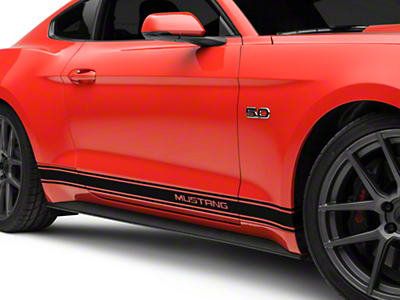 Black Rocker Stripes w/ Mustang Lettering (15-17 All)