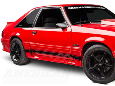 Black Rocker Stripes w/ Mustang Lettering (79-93 All)