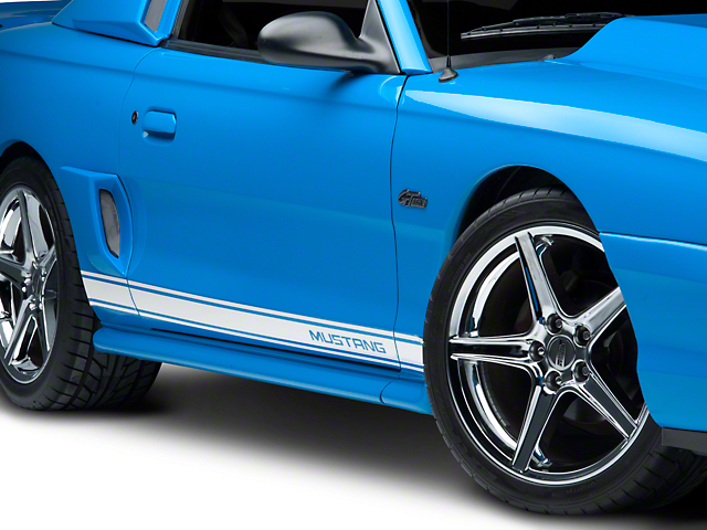 White Rocker Stripes w/ Mustang Lettering (79-16 All)