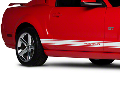 White Rocker Stripes w/ Mustang Lettering (05-14 All)