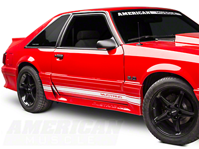 White Rocker Stripes w/ Mustang Lettering (79-93 All)