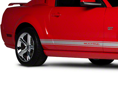 Silver Rocker Stripes w/ Mustang Lettering (05-14 All)