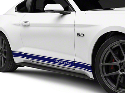 Blue Rocker Stripes w/ Mustang Lettering (15-16 All)
