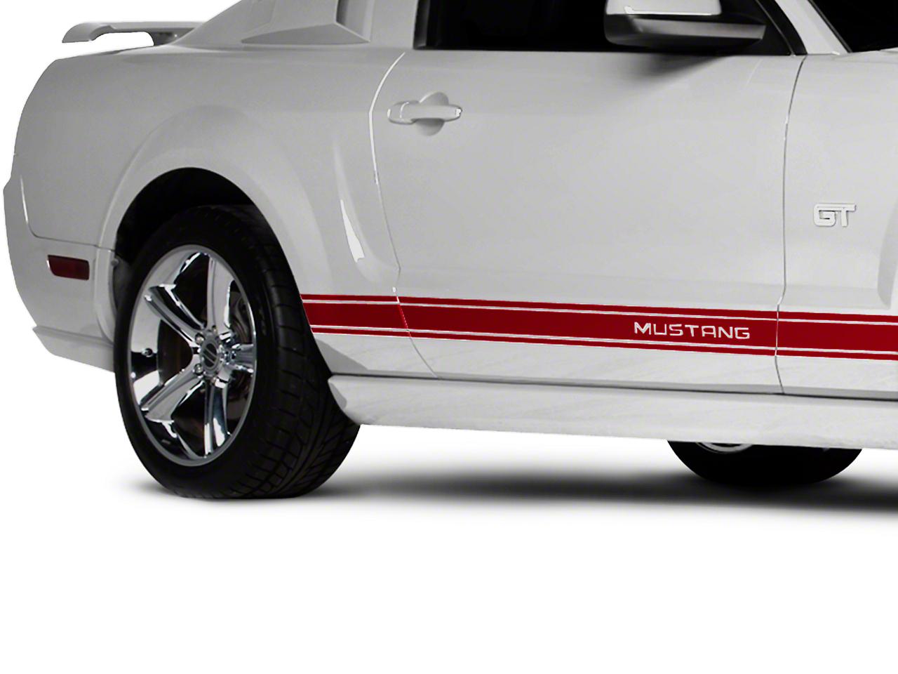 Red Rocker Stripes w/ Mustang Lettering (05-14 All)