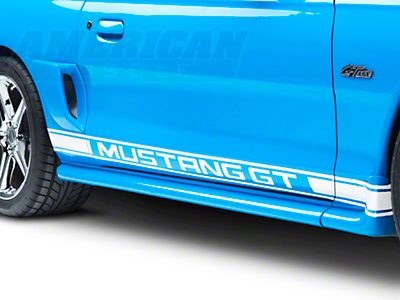 White Rocker Stripes w/ Mustang GT Lettering (79-14 All)