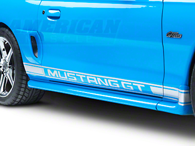 Silver Rocker Stripes w/ Mustang GT Lettering (79-14 All)