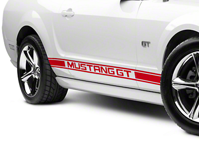 Red Rocker Stripes w/ Mustang GT Lettering (05-14 All)