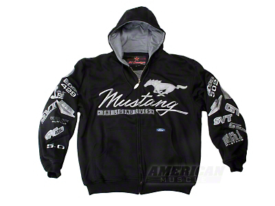 Black Ford Mustang Collage Zip-Up Hoodie