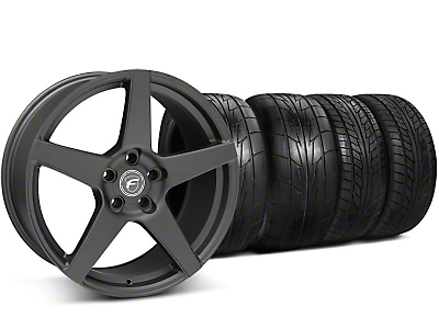 Staggered Forgestar CF5 Matte Black Wheel & NITTO Tire Kit - 20x9/11 (05-14 All)