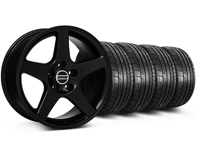 Staggered 2003 Cobra Style Black Wheel & Mickey Thompson Tire Kit - 17x9/10.5 (99-04 All)