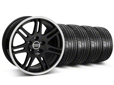 Staggered 10th Anniversary Cobra Style Black Wheel & Mickey Thompson Tire Kit - 17x9/10.5 (99-04 All)