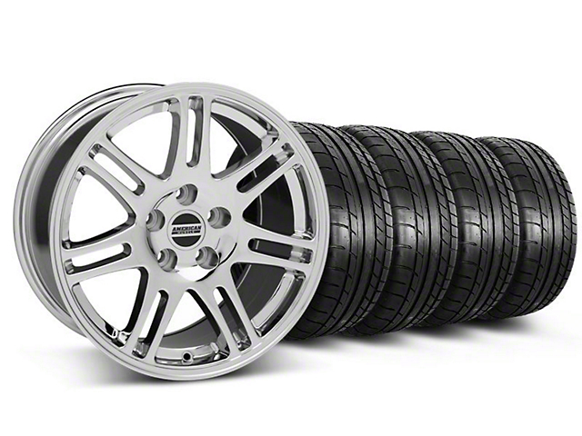 Staggered 10th Anniversary Cobra Style Chrome Wheel & Mickey Thompson Tire Kit - 17x9/10.5 (99-04 All)