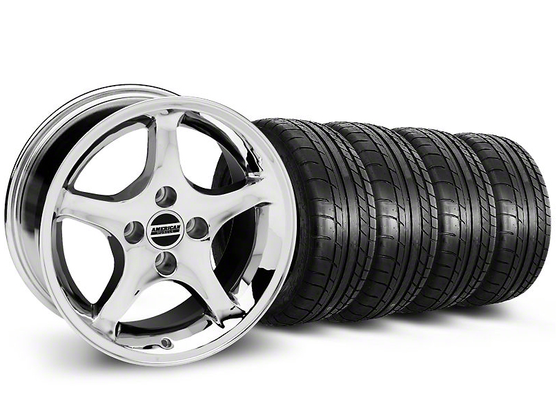 Staggered Cobra R Style Chrome Wheel & Mickey Thompson Tire Kit - 17x9/10.5 (99-04 All)