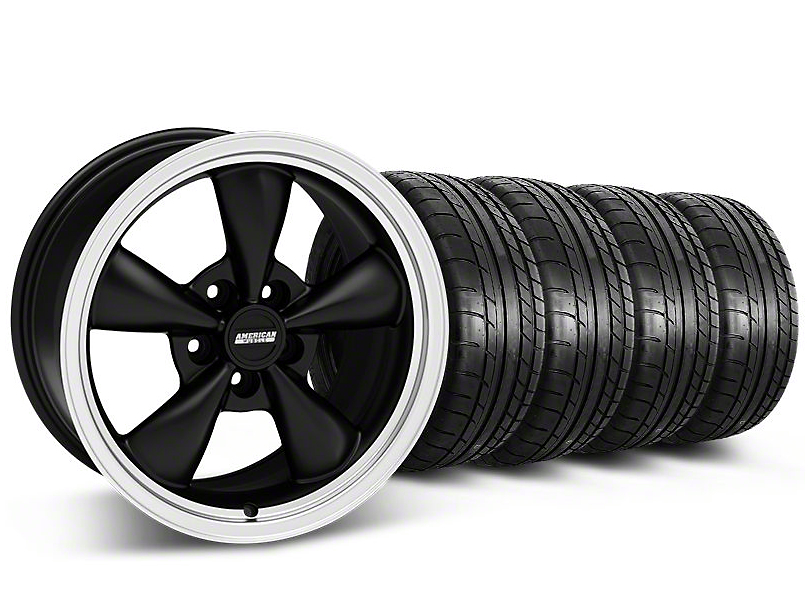 Staggered Deep Dish Bullitt Matte Black Wheel & Mickey Thompson Tire Kit 17x9/10.5 (99-04 All)