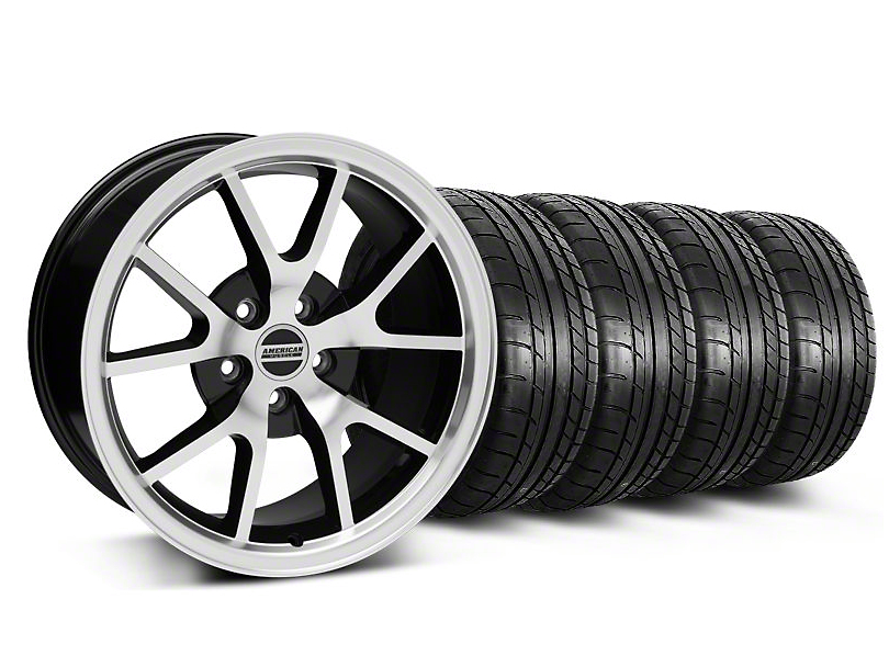 Staggered FR500 Style Black Machined Wheel & Mickey Thompson Tire Kit - 17x9/10.5 (99-04 All)