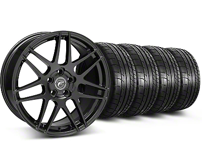 Staggered Forgestar F14 Piano Black Wheel & Mickey Thompson Tire Kit - 17x9/10.5 (99-04 All)