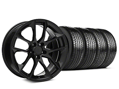 Staggered 2015 Mustang GT Style Black Wheel & Pirelli Tire Kit - 19x8.5 (05-14)