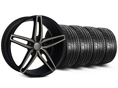 Staggered Foose Stallion Double Dark Wheel & Mickey Thompson Tire Kit - 20x8.5/10 (05-14 All)