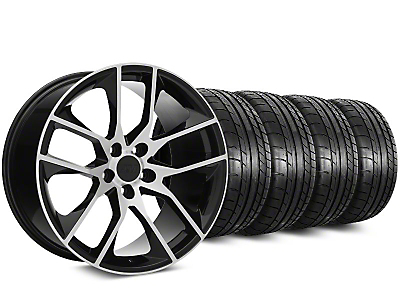 Staggered 2015 Mustang GT Style Black Machined Wheel & Mickey Thompson Tire Kit - 20x8.5/10 (05-14)