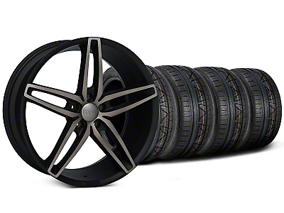 Foose Staggered Stallion Double Dark Wheel & NITTO Invo Tire Kit - 20x8.5/10 (05-14 All)