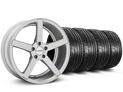 Staggered CV3-R Metallic Silver Wheel & Mickey Thompson Tire Kit - 19x8.5/10 (05-14 All)