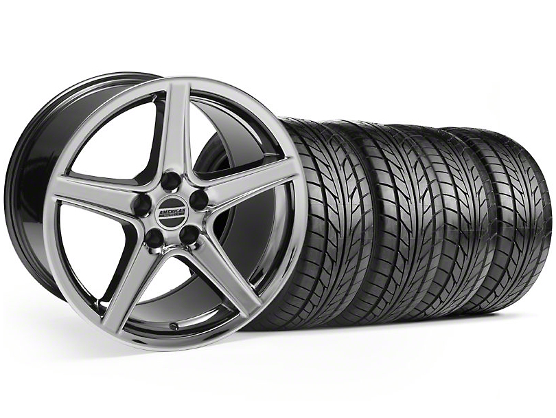 Saleen Style Black Chrome Wheel & NITTO Tire Kit - 18x9 (99-04)