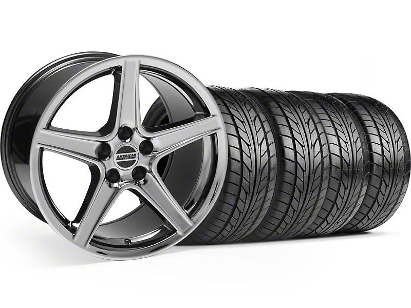 Saleen Black Chrome Wheel & NITTO Tire Kit - 18x9 (99-04)