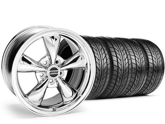 Staggered Bullitt Chrome Wheel & NITTO Tire Kit - 18x9/10 (05-14 GT, V6)