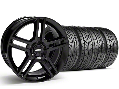 Staggered 2010 GT500 Style Black Wheel & NITTO Tire Kit - 18x9/10 (05-14)