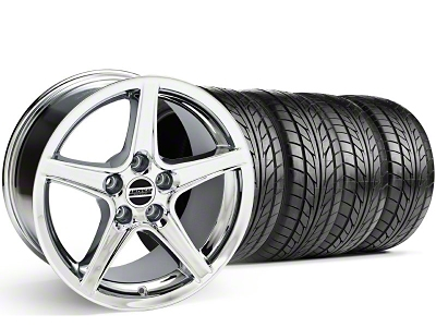 Staggered Saleen Style Chrome Wheel & NITTO Tire Kit - 18x9/10 (99-04)