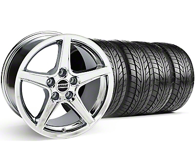 Staggered Chrome Saleen Style Wheel & NITTO Tire Kit - 18x9/10 (99-04)