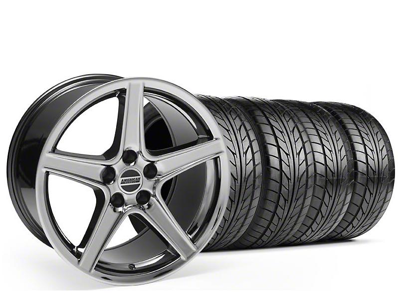 Staggered Saleen Style Black Chrome Wheel & NITTO Tire Kit - 18x9/10 (99-04)