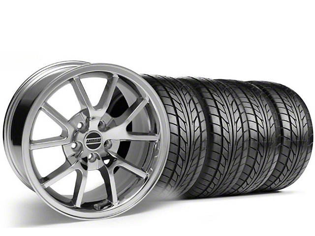 Staggered FR500 Style Chrome Wheel & NITTO Tire Kit - 18x9/10 (99-04)