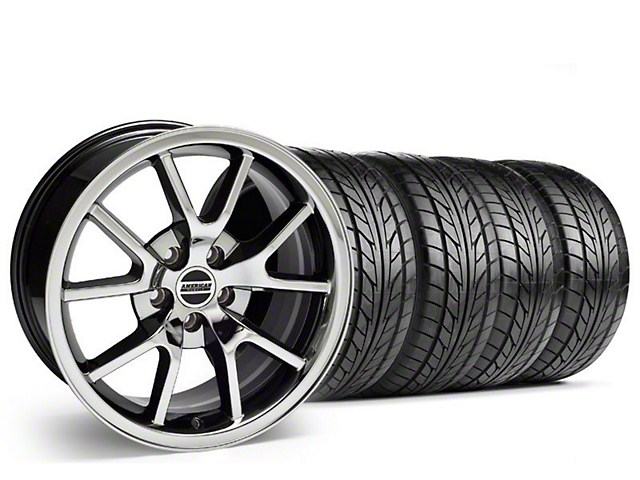 Staggered FR500 Style Black Chrome Wheel & NITTO Tire Kit - 18x9/10 (99-04)