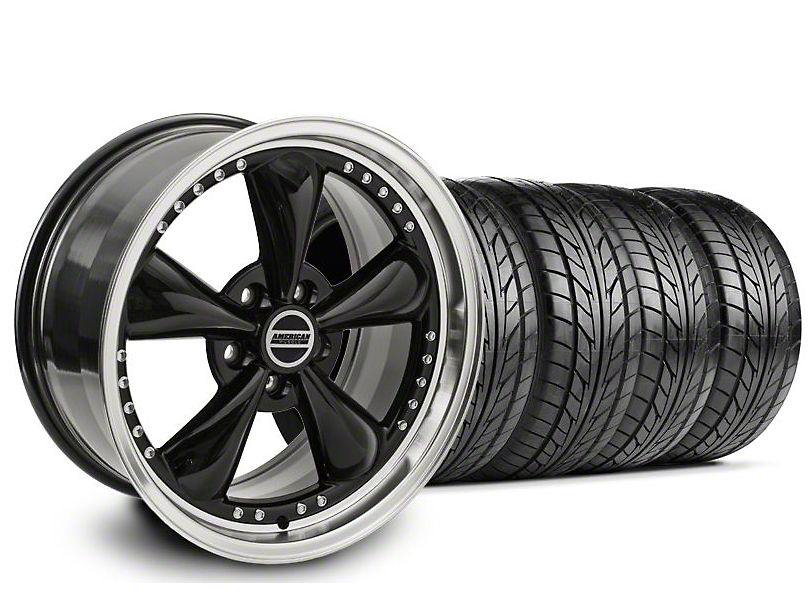 Staggered Bullitt Motorsport Black Wheel & NITTO Tire Kit - 18x9/10 (99-04)