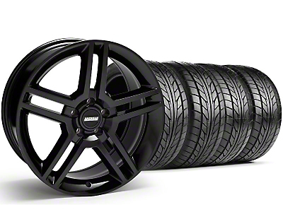 Staggered 2010 GT500 Style Black Wheel & NITTO Tire Kit - 18x9/10 (99-04)