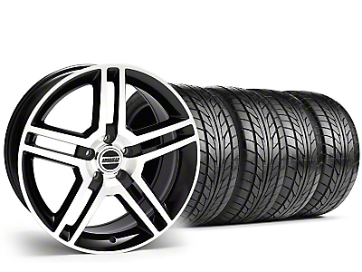 Staggered 2010 GT500 Style Black Machined Wheel & NITTO Tire Kit - 18x9/10 (99-04)