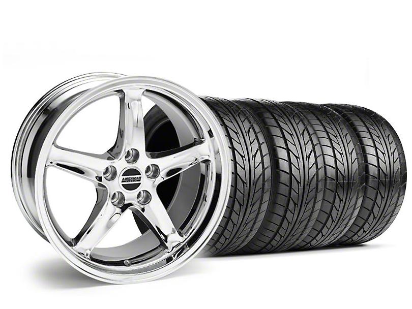 Staggered 1995 Cobra R Style Chrome Wheel & NITTO Tire Kit - 18x9/10 (99-04)