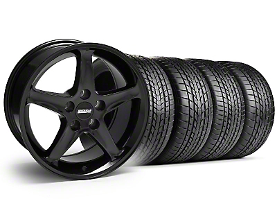 Staggered 1995 Cobra R Style Black Wheel & Sumitomo Tire Kit - 17x9/10.5 (99-04)