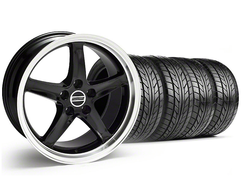 Staggered 1995 Cobra R Style Black Wheel & NITTO Tire Kit - 18x9/10 (99-04)