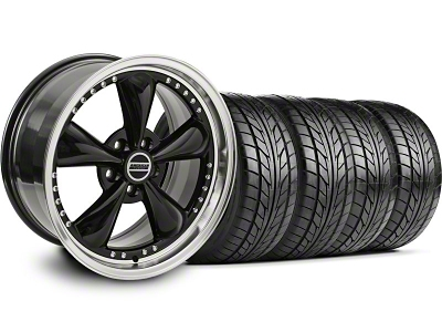 Bullitt Motorsport Black Wheel & NITTO Tire Kit - 18x9 (05-14 GT, V6)