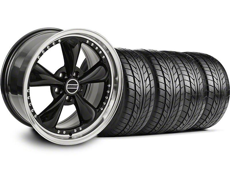 Bullitt Motorsport Black Wheel & NITTO Tire Kit - 18x9 (05-14 GT, V6)