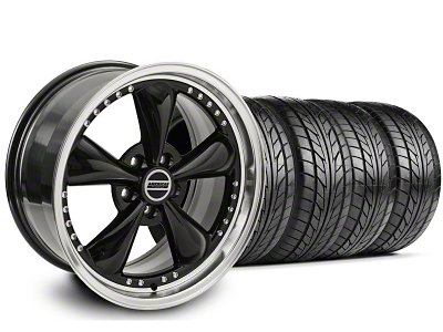 Staggered Bullitt Motorsport Black Wheel & NITTO Tire Kit - 18x9/10 (05-14 GT, V6)