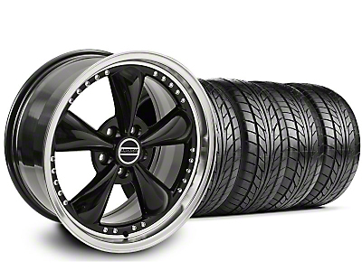 Staggered Bullitt Motorsport Black Wheel & NITTO Tire Kit - 18x9/10 (05-14 GT, V6)
