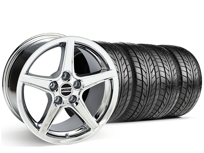 Staggered Saleen Style Chrome Wheel & NITTO Tire Kit - 18x9/10 (05-14 GT, V6)